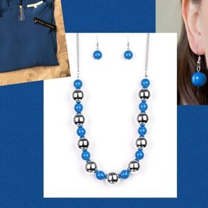 🆕Boutique silver and blue bead necklace/earrings